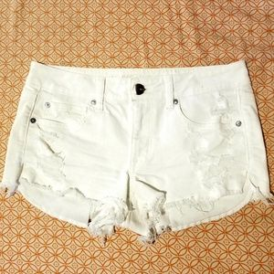 American Eagle Outfitters White Cutoff Shorts